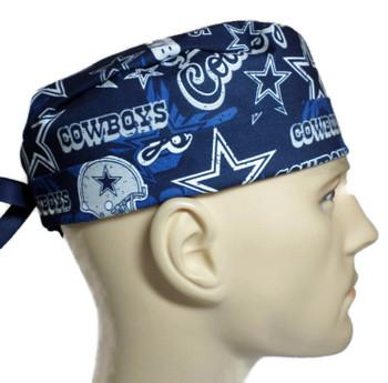 Men's Dallas Cowboys Retro Surgical Scrub Hat, Semi-Lined Fold-Up Cuffed (shown) or No Cuff, Handmade
