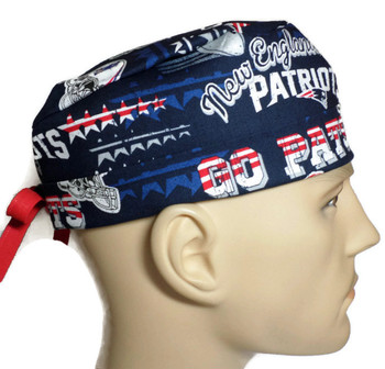 """Men's New England Patriots """"GO PATS"""" Surgical Scrub Hat, Semi-Lined Fold-Up Cuffed (shown) or No Cuff, Handmade"""