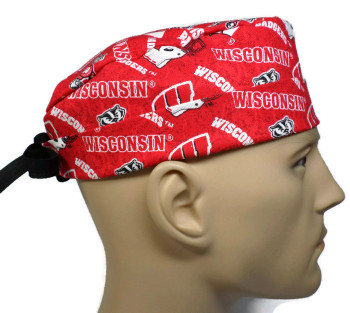 Men's Wisconsin Badgers Two Tone Surgical Scrub Hat, Semi-Lined Fold-Up Cuffed (shown) or No Cuff,  Handmade
