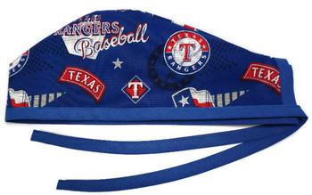 Men's Texas Rangers Retro  Unlined Surgical Scrub Hat, Optional Sweatband, Handmade