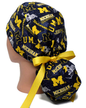 Women's Michigan Wolverines Two Tone Bouffant, Pixie or Ponytail Surgical Scrub Hat, Adjustable, Handmade