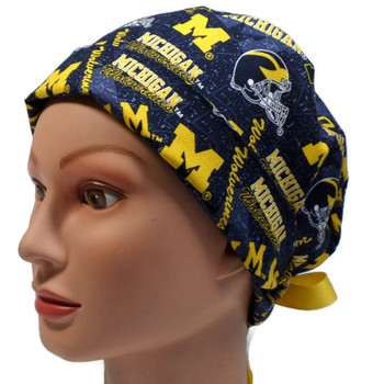 Women's Michigan Wolverines Two Tone Pixie Surgical Scrub Hat, Fold Up Brim, Adjustable, Handmade