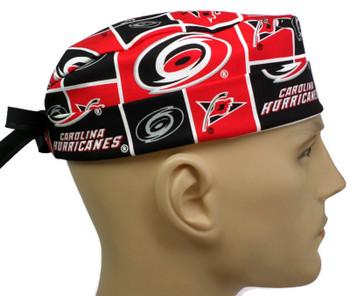 Men's Carolina Hurricanes Surgical Scrub Hat, Semi-Lined Fold-Up Cuffed (shown) or No Cuff, Handmade
