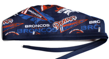 Men's Denver Broncos Retro Unlined Surgical Scrub Hat, Optional Sweatband, Handmade