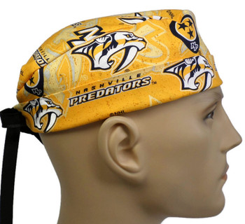 Men's Nashville Predators Logo Gold Surgical Scrub Hat, Semi-Lined Fold-Up Cuffed (shown) or No Cuff, Handmade