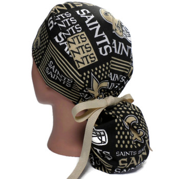 Women's New Orleans Saints Squares Ponytail Surgical Scrub Hat, Plain or Fold-Up Brim Adjustable, Handmade