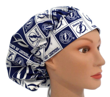 Women's Tampa Bay Lightning Squares Bouffant Surgical Scrub Hat,  Adjustable with Elastic and Cord-Lock, Handmade