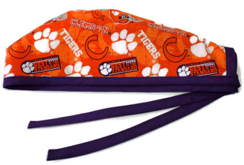 Men's Clemson Tigers Two Tone Unlined Surgical Scrub Hat, Optional Sweatband, Handmade