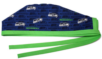 Men's Seattle Seahawks Mini Unlined Surgical Scrub Hat, Optional Sweatband, Handmade