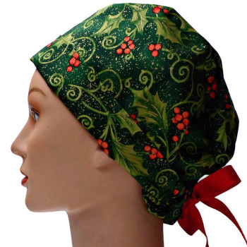 Women's Christmas Holly Vines Pixie Surgical Scrub Hat, Fold Up Brim, Adjustable, Handmade