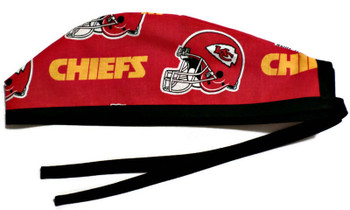 Men's Kansas City Chiefs Red Unlined Surgical Scrub Hat, Optional Sweatband (shown), Handmade
