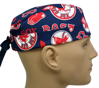 Men's Boston Red Sox Cooperstown Surgical Scrub Hat, Semi-Lined Fold-Up Cuffed (shown) or No Cuff, Handmade