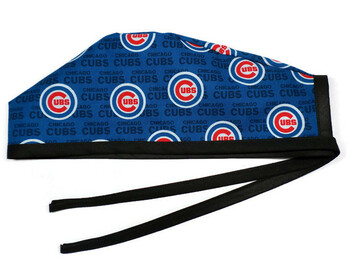 Men's Chicago Cubs Mini Unlined Surgical Scrub Hat,  Optional Sweatband, Handmade
