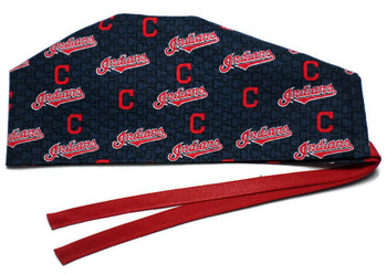 Men's Cleveland Indians Navy Surgical Scrub Hat, Semi-Lined Fold-Up Cuffed or No Cuff (shown),  Handmade