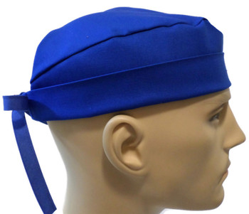 Men's Royal Blue Solid Surgical Scrub Hat, Semi-Lined Fold-Up Cuffed (shown) or No Cuff, Handmade
