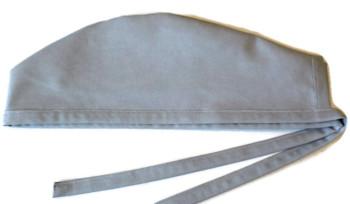 Men's Medium Gray Unlined Surgical Scrub Hat, Optional Sweatband, Handmade