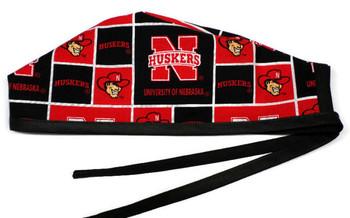 Men's Nebraska Huskers  Unlined Surgical Scrub Hat, Optional Sweatband, Handmade