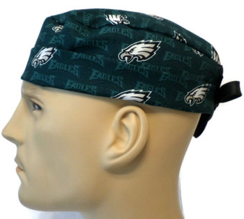 Men's Philadelphia Eagles Mini  Surgical Scrub Hat, Semi-Lined Fold-Up Cuffed (shown) or No Cuff, Handmade