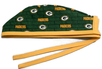 Men's Green Bay Packers Mini Unlined Surgical Scrub Hat, Optional Sweatband,  Handmade