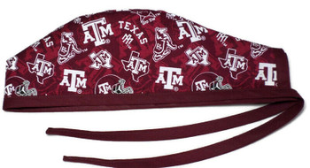 Men's Texas A&M Aggies Two Tone Unlined Surgical Scrub Hat, Optional Sweatband, Handmade