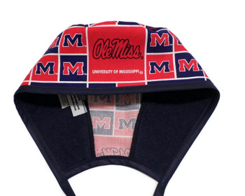 """Men's Mississippi """"Ole Miss"""" Rebels Squares Unlined Surgical Scrub Hat, Optional Sweatband, Handmade"""