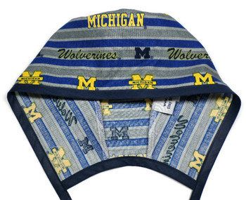Men's Michigan Wolverines Polo Stripe Unlined Surgical Scrub Hat, Optional Sweatband, Handmade