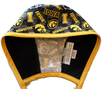 Men's Iowa Hawkeyes Two Tone Unlined Surgical Scrub Hat, Optional Sweatband (shown), Handmade