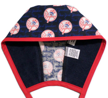 Men's New York Yankees Mini Unlined Surgical Scrub Hat, Optional Sweatband (shown), Handmade