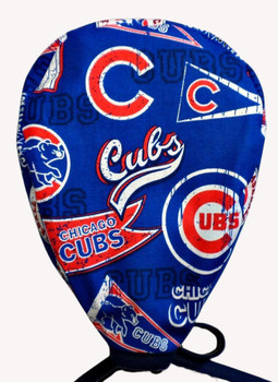 Men's Chicago Cubs Pennants Unlined Surgical Scrub Hat, Optional Sweatband, Handmade