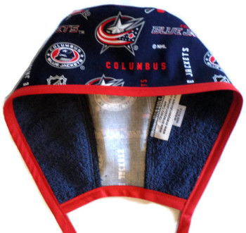 Men's Columbus Blue Jackets Unlined Surgical Scrub Hat, Optional Sweatband (shown), Handmade