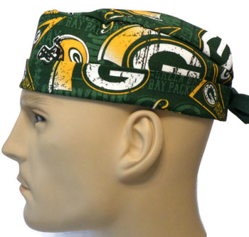 Men's Green Bay Packers Retro Surgical Scrub Hat, Semi-Lined Fold-Up Cuffed (shown) or No Cuff, Handmade
