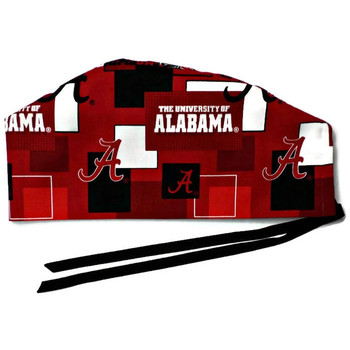 Men's Alabama Crimson Tide New Block Semi-Lined Surgical Scrub Hat, Handmade, Black Ties,  Approx. 23 x 4 inches