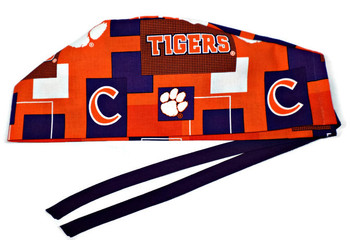 Men's Clemson Tigers New Block Semi-Lined Surgical Scrub Hat, Handmade, Purple Ties, Approx. 23 x 4.25 inches