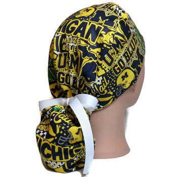 Women's Michigan Wolverines Pop Art Ponytail Surgical Scrub Hat, Plain or Fold-Up Brim Adjustable, Handmade