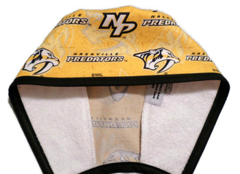 Men's Nashville Predators Logo Gold Unlined Surgical Scrub Hat, Optional Sweatband, Handmade
