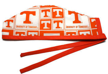 Men's Tennessee Volunteers VOLS Squares  Unlined Surgical Scrub Hat, Optional Sweatband, Handmade