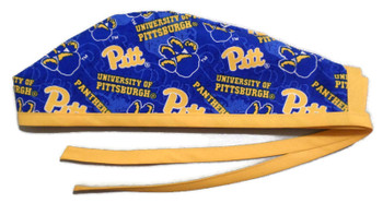 Men's Pittsburgh PITT Panthers Two Tone  Unlined Surgical Scrub Hat, Optional Sweatband, Handmade