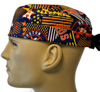 Men's Houston Astros Abstract Semi-Lined Surgical Scrub Hat, Handmade