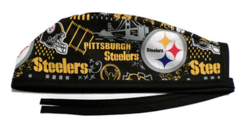 Men's Pittsburgh Steelers Hometown Unlined Surgical Scrub Hat, Optional Sweatband, handmade