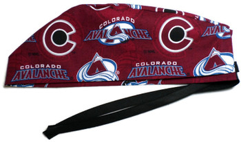 Men's Colorado Avalanche Two Tone Surgical Scrub Hat, Semi-Lined Fold-Up Cuffed or No Cuff (shown), Handmade