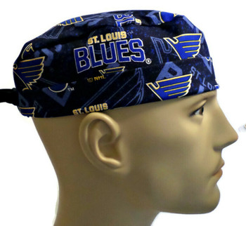 Men's St. Louis Blues Two Tone Surgical Scrub Hat, Semi-Lined Fold-Up Cuffed (shown) or No Cuff, Handmade