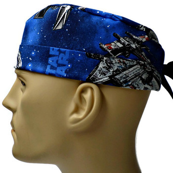 Men's Star Wars Ships Surgical Scrub Hat, Semi-Lined Fold-Up Cuffed (shown) or No Cuff, Handmade