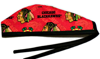 Men's Chicago Blackhawks Red Unlined Surgical Scrub Hat, Optional Sweatband, Handmade