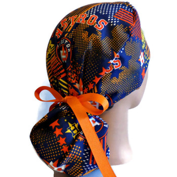 Women's Houston Astros Abstract Ponytail Surgical Scrub Hat, Plain or Fold-Up Brim Adjustable, Handmade