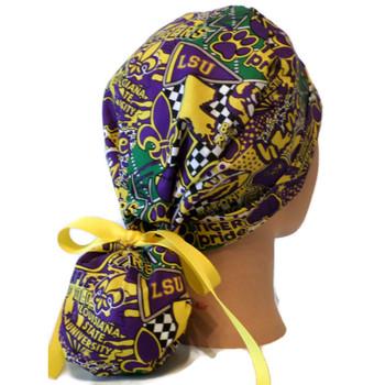 Women's LSU Pop Art Ponytail Surgical Scrub Hat, Plain or Fold-Up Brim (shown), Adjustable, Handmade