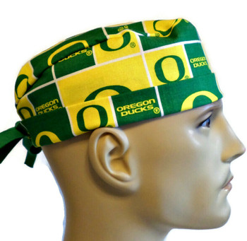 Men's Oregon Ducks Squares Light Green Surgical Scrub Hat, Semi-Lined Fold-Up Cuffed (shown) or No Cuff, Handmade