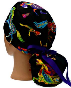Women's Southwest Horses Brite Ponytail Surgical Scrub Hat, Plain or Fold-Up Brim, Adjustable, Handmade