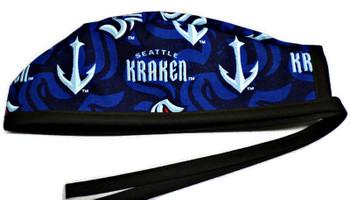 Men's Seattle Kraken Unlined Surgical Scrub Hat, Optional Sweatband, Handmade