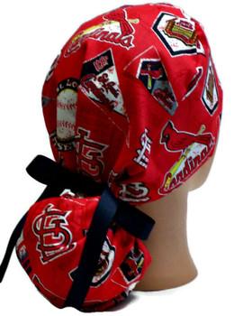 Women's St Louis Cardinals Vintage Ponytail Surgical Scrub Hat, Plain or Fold-Up Brim Adjustable, Handmade