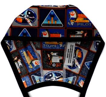 Men's Star Wars Badges  Unlined Surgical Scrub Hat, Optional Sweatband, Handmade
